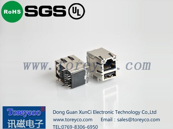 RJ45+单层USB