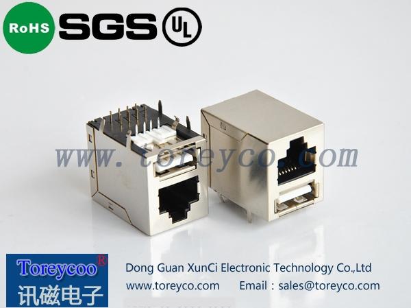 RJ45+单层usb网络插座